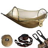 NATUREFUN Hamac de camping ultra-léger Hamac en filet anti-moustiques | Capacité de charge de 300 kg, nylon de parachute respirant à séchage rapide | 2 mousquetons haut de gamme, 2 x élingues en nylon