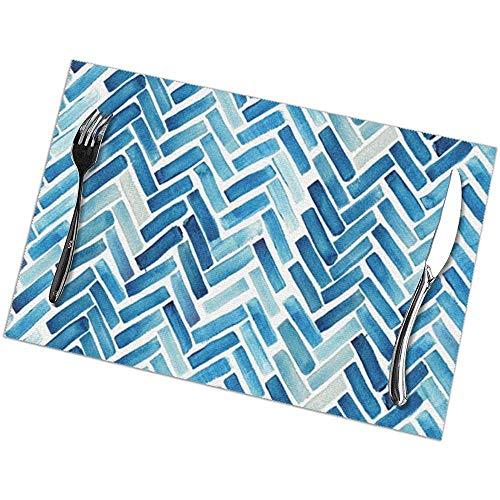 Winter-Zuid-blauwe visgraat aquarel placemats voor eettafel set van 6 stuk Placemats voor keuken eettafel