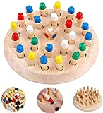 WOODEN MEMORY CHESS - Kids chess match game can Develop the responsiveness of the baby's movement accuracy; promote the development of various perceptual sensations, gain the perception of the shape, color and size of the object in the process of ope...