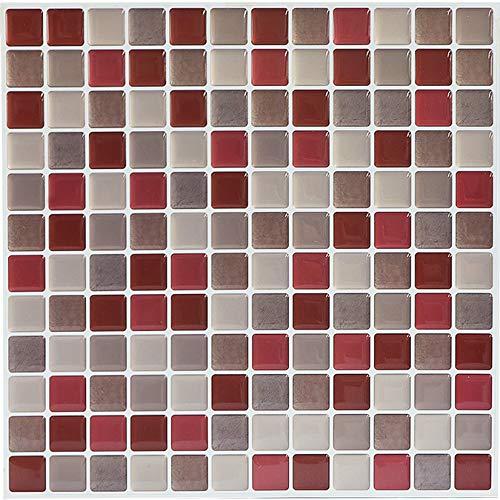 SHINGONE 3D Fliesenaufkleber Mosaik Wandaufkleber Wohnzimmer, Selbstklebende 3D-Mosaik-Fliesenaufkleber Fliesen Sticker für Küche, Fliesensticker Badezimmer Rot 4er Pack (23.6 x 23.6cm)