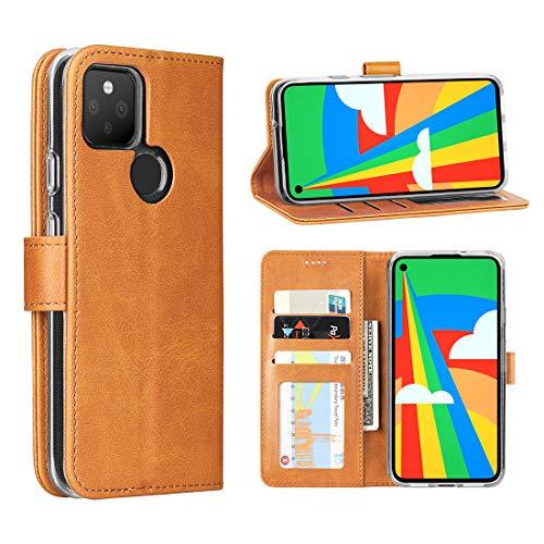 Cresee für Google Pixel 4a 5G Hülle, PU Leder Handyhülle mit 3 Kartenfächer, Schutzhülle Hülle Tasche Magnetverschluss Flip Cover Stoßfest (Hellbraun)
