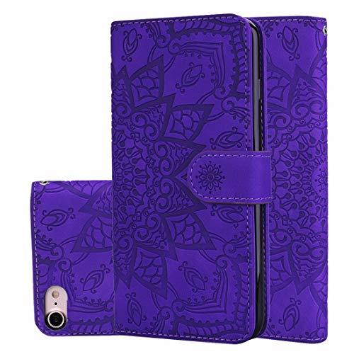 Shockproof LIJM Kalf Pattern Double Folding Ontwerp In Reliëf Lederen Etui Met Wallet & Holder & Card Slots For IPhone 8 & 7 (zwart) Decoratie (Color : Purple)