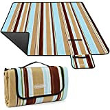 Large Picnic Blanket for Outdoor Camping, 59X59 inch Comfortable Fleece Picnic Rug with Waterproof & Sandproof Backing, Lightweight Foldable Beach Blanket with PU Leather Handle