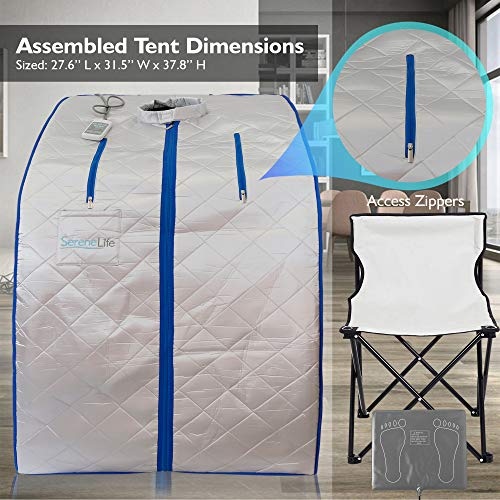 SereneLife Portable Infrared Home Spa | One Person Sauna | Heating Foot Pad and Chair