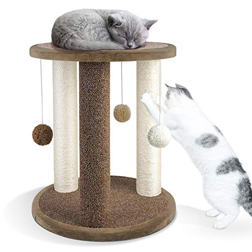 Aibuddy Cat Scratching Post, Scratching Tower with 3 Scratcher Posts,Carpeted Base Play Area and Perch (Cat Interactive Toys, Dangling Ball,East to Assemble, 40 x 40 x 47cm)