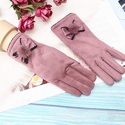 Q_STZP - Guantes para mujer, invierno, cálidos, coreanos, con dibujos animados, para estudiantes de terciopelo grueso, para otoño e invierno, color Bean Sand púrpura--ZZH guantes de ante con gancho, tamaño talla única