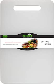 Plastic Utility Cutting Board with Handles, Food Safe PP Material, BPA Free, Dishwasher Safe, Thick Chopping Board, Large Size (15.5 x 10), Easy Grip Handle, for Kitchen (White)