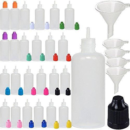 XIAONAN 5 Pack x 100ml LDPE Plastikware Leere Squeezable Dropper Flaschen mit Spitzen Abdeckung Bottles + Trichter von ShellyMall (Flaschen + Mischfarbe Abdeckung + Spitzen)