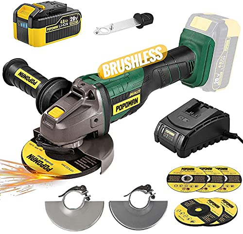 Brushless Cordless Angle Grinder 20V MAX, POPOMAN 5 Inch 10000RPM Cordless Grinder with 4.0Ah Lithium-ion Battery & Fast Charger, 3-Position Auxiliary Handle, Cutting Wheel&Grinding Wheel included