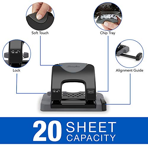 Swingline 2 Hole Punch, Hole Puncher, SmartTouch, 20 Sheet Punch Capacity, Low Force, Black/Gray (74135) Photo #5