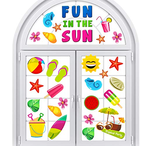 Summer Window Clings Fun in The Sun Stickers Beach Tropical Static Window Clings Flip Flops Window Decal for Wall Glass Car Summer Party Birthday Decoration, 6 Sheets(108 Pieces)