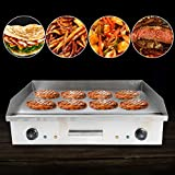 Gdrasuya10 4.4KW Electric Grill Griddle, 110V Electric Countertop Griddle Flat Top Griddle Stove Cooktop Kitchen Hotplate Restaurant Grill BBQ Thermostatic Control