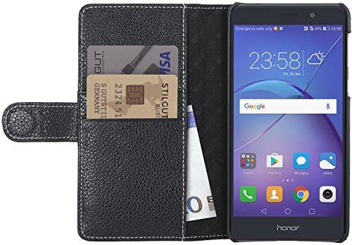 StilGut Talis Schutz-Hülle kompatibel mit Huawei Honor 6X mit Kreditkarten-Fächern aus echtem Leder, Schwarz