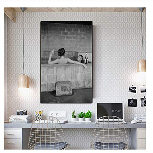 Suuyar Steve McQueen UND Frau NIMMT SCHWEFELBAD Leinwand Malerei Wandbilder für Wohnzimmer Wohnkultur Poster Drucke Druck auf leinwand-60x80 cm Kein Rahmen