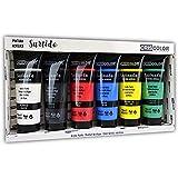 Criscolor 8435621413236 Set de pintura acrilica de 6 colores para lienzos y manualidades, surtido, 75 ml