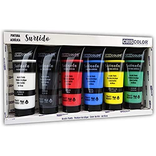 Criscolor 8435621413236 Set de Pintura acrilica de 6 Colores para lienzos y Manualidades, Surtido, 75 ml (Paquete de 6)