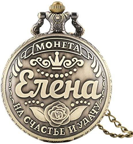 N / A Reloj de bolsillo, palabras rusas monedas rublo réplica de cuarzo reloj de bolsillo Julia Svetlana Elena diseño collar colgante colección recuerdo regalo