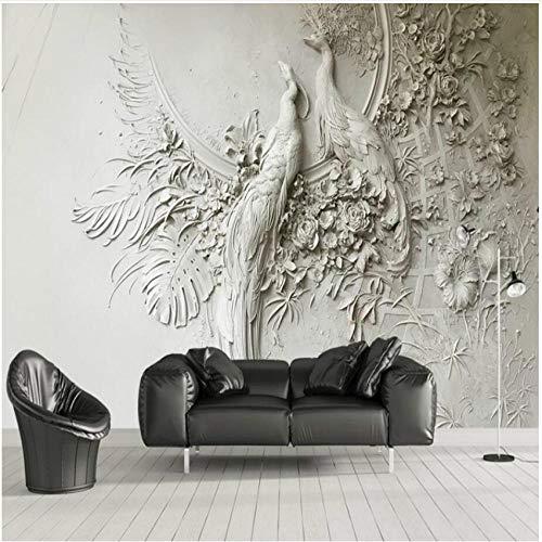 Finloveg Alivio Estereoscópico 3D Pavo Real Fondos De Fotos Mural Gris En Relieve Sala De Estar Sofá Fondo Mural De Pared Decoración Para El Hogar-280X200Cm