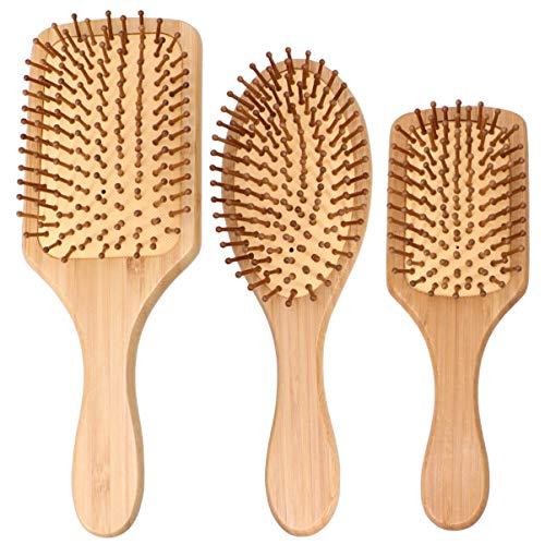 Pixnor Bambou Cheveux Peignes Airbag Coussin D'air Masseur Peignes Palette Brosse Peigne en Bois Tête Cuir Chevelu Masseur Méridien Brosse à Cheveux pour Salon de Coiffure 3 Pcs