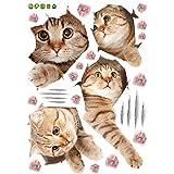 Etiqueta de la Pared del Gato 3D Animal Home Pet Shop Decoración de la Pared Etiqueta de la Pared con Imagen (Multicolor)