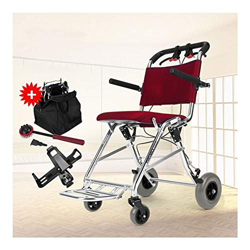D-Q Ultra ligero plegable 7.4kg silla de ruedas con freno de mano trasera de aleación de aluminio silla de ruedas for discapacitados, ancianos, los usuarios discapacitados ( Color : Red )