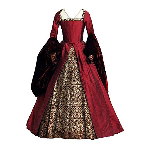 1791's lady The Other Boleyn Girl Dress Gown Anne's Costums (XL:Height65-67 Chest42-43 Waist33.5-35', Red)
