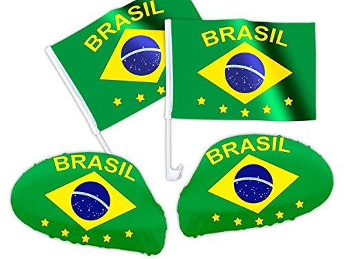 PROMOTION: Accéssoires Brésil pour décoration de voiture Ensemble de 4 pièces: 2 drapeaux + 2 revêtements rétroviseur s'adapte à tous les rétroviseurs grace à la fixation élastique Possibilité de l'utiliser aussi en tant que band