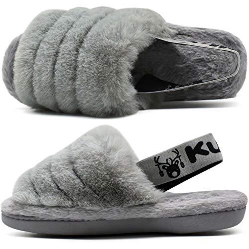 Damen plüsch Hausschuhe Frauen Bequeme Pantoffeln warme Flauschige Fell rutschfest Sandalen mit Gedächtnisschaum Grau Größe 39