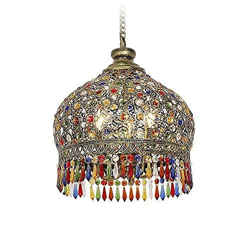 Clobiey Bohemia Mediterraneo Vintage colorato lampadario di cristallo di illuminazione Ristorante Droplight sud-est asiatico Thai stile Retro lampada a sospensione Ombra E27 Loft Cafe Bar Hanging luce