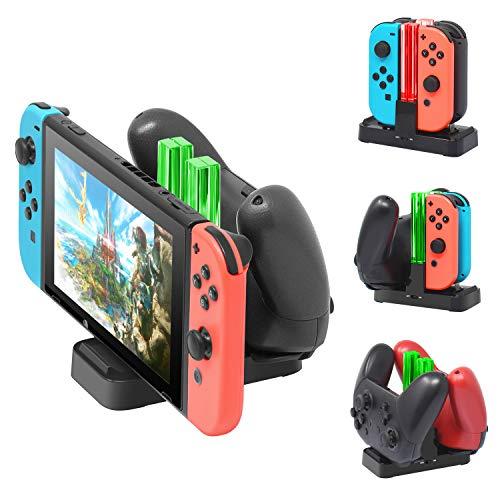 FYOUNG Chargeur Station pour Nintendo Switch Manettes Pro et JoyCons, Chargement pour Switch / Switch Lite avec 2 Type C USB Ports et 1 Type C USB Câble , Interrupteur pour LED Indicateurs ON-OFF