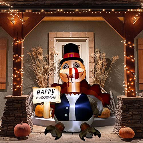 Kurala 6 FT Thanksgiving Inflatable Happy Turkey with Warm White LED Lights, Cute Thanksgiving Day Gift Box for Indoor, Outdoor, Party, Yard, Garden, Lawn Blow Up Holiday Decoration