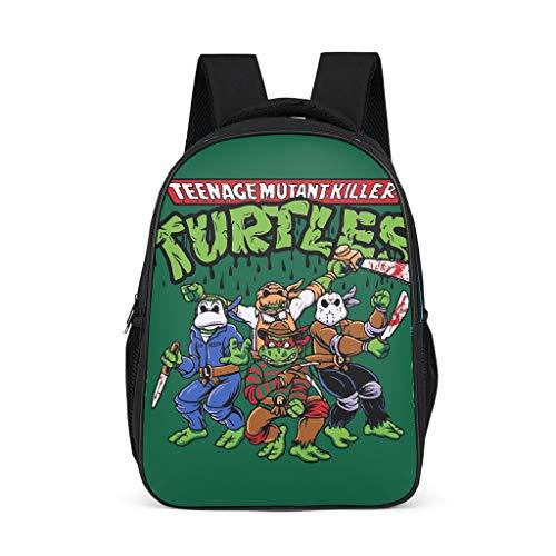 Xuanwuyi Rucksack mit vier Schildkröten, lässig, Grundschul-Rucksack, Ninja Turtle wasserfest, für Jungen und Mädchen One Size grau