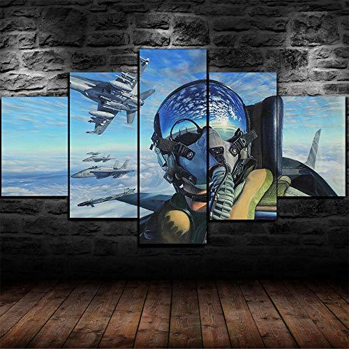 IKDBMUE 5 Piezas de Lienzo Arte Mural Piloto de Jet Fighter Air Force Pinturas de Lienzo de Año Nuevo Pinturas de Lienzo de Arte de Pared para la Sala de Estar Decoración de Navidad en casa