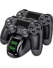 PS4 コントローラー 充電器 BEBONCOOL PS4 充電 スタンド DS4/PS4 Pro/PS4 Slim 充電器 PS4 コントローラー 充電2臺同時充電可能 DUALSHOCK4 充電 LED 指示ランプ付き (黑)