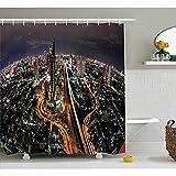 Yeuss Urban Duschvorhang, Luftbild von Bangkok Stadt mit hohen Wolkenkratzern Autobahnen in der Nacht Metropole Szene,Stoff Badezimmer Dekor Set mit Haken,Multicolor 72'x80'