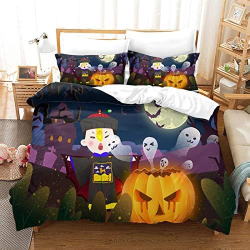 FOssIqU Funda nórdica Doble de Tres Piezas 135x200cm Zombi de Halloween Hogar Dormitorio Infantil niño niña Dormitorio patrón de impresión 3D algodón Puro Transpirable Super Suave 3 futón