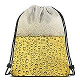 Lmtt Mochila con cordón Mochila deportiva Gimnasio Mochila Bolsa de viaje Cerveza fresca Burbujeante dorado
