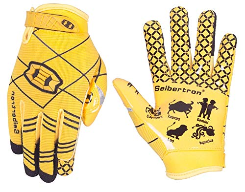 Seibertron Pro 3.0 Twelve Constellations Elite Ultra-Stick Sports Receiver Glove Football Gloves Youth (Yellow, M)