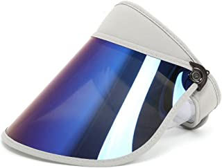 Vadeytfl Big Eaves Empty Top Hat Foldable Sun Protection with Chin Band Golf Cool Hat (Color : Gray)