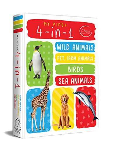 My First 4 In 1 One Wild Animals  Pet and Farm Animals  Birds  Sea Animals : Padded Board Books