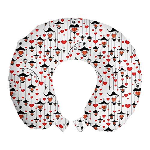 ABAKUHAUS Liebe Reisekissen Nackenstütze, Laternen und Herzen, Schaumstoff Reiseartikel für Flugzeug und Auto, 30x30 cm, Vermilion Scarlet