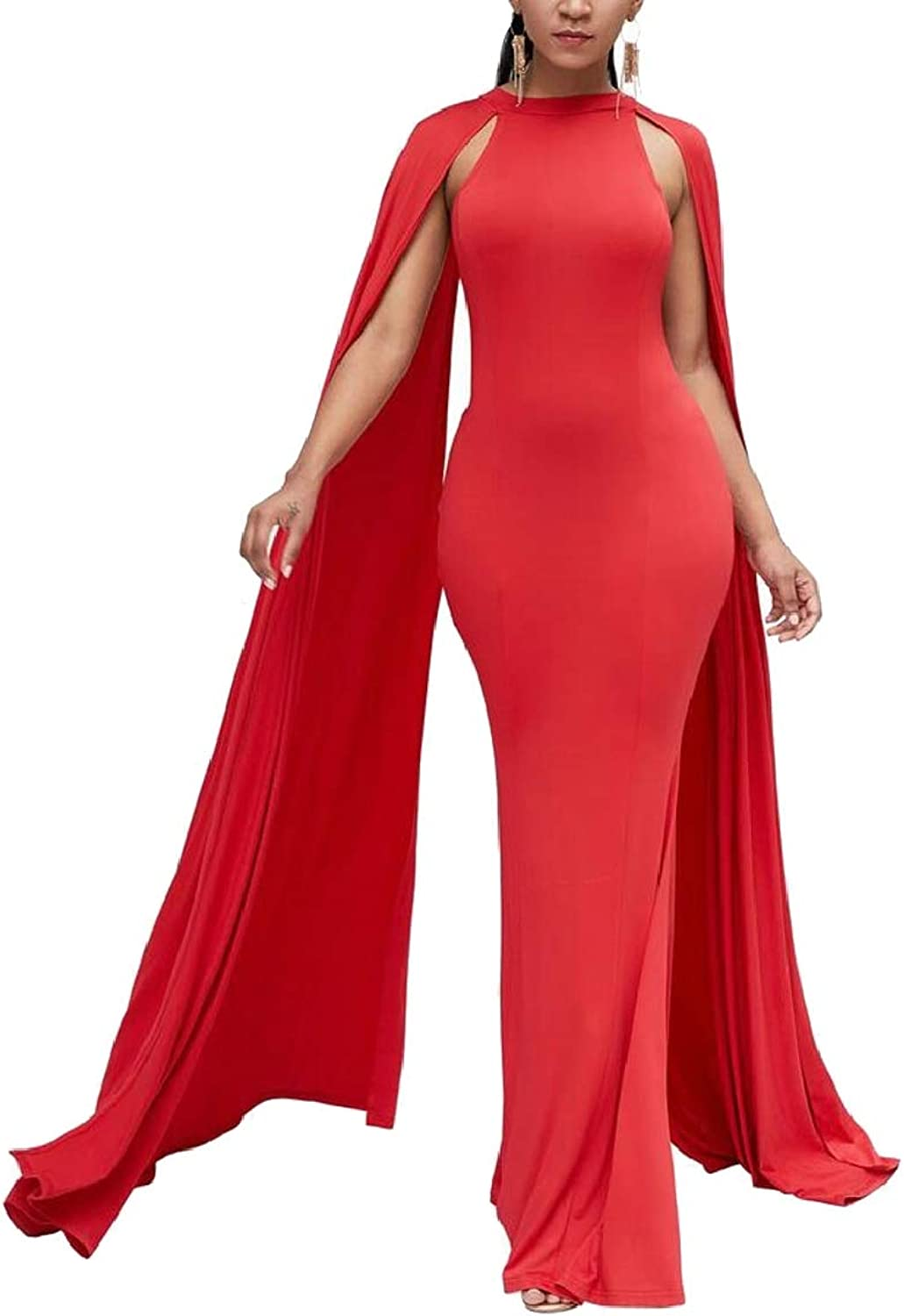QDCACA Womens Bodycon African Style Evening Party Fishtail Long Maxi Dress
