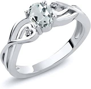 Gem Stone King 925 Sterling Silver Sky Blue Aquamarine and White Diamond Women's Ring 0.44 Ct Oval (Available 5,6,7,8,9)