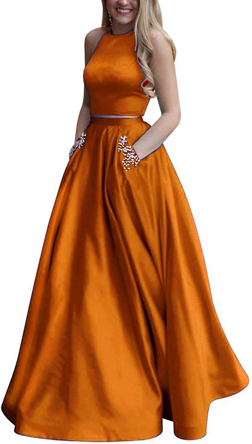 Liangjinsmkj Halter Prom Dresses Long Two Piece Beaded Satin Halter Formal Evening Gown with Pockets Navy
