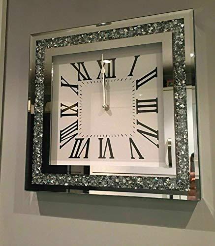 Amazing Gift Lose, leise Wanduhr mit Diamant-Kristallspiegel, römische Wanduhr für Zuhause, Büro, Wohnzimmer, Schlafzimmer, Dekoration, 35 x 35 cm, silberfarben