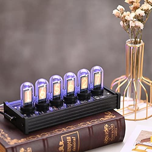 InLoveArts Nixie Tube Clock, Nixie Röhrenuhr mit High-End LED Farblöhre, kreative Digitaluhr mit DIY Customized Photo Display, Kalender, Geeignet für Tube Clock Geschenke für Freunde und Kinder