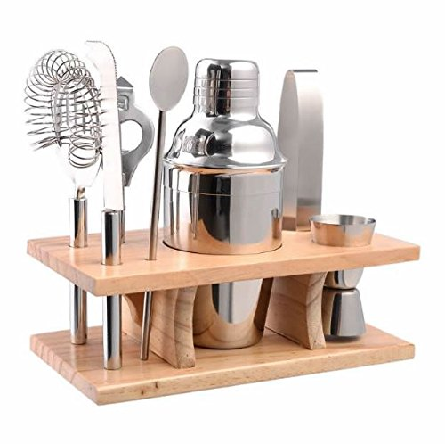 Produit Royal 8 Pcs Stainless Steel Bar Set Tools Bartender Cocktail Shaker Mixer Barware Kit Martini Drink Professional Piece Party Jigger Mixing with Wood Stand Home Restaurant Bar new