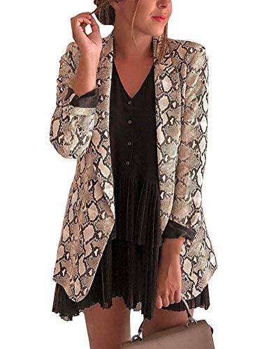 Eghunooye Damen Leopard Cardigan Langarm Casual Blazer Sakko Anzüge Business Slim Leopard Muster Mantel Outwear für Elegante Frauen (Leopard, XL)