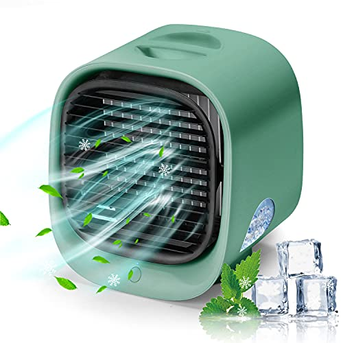 Portable Air Conditioner, Evaporative Personal Air Cooler Desk Fan, Rechargeable Mini AC with 3 Speeds, LED Light, Small Humidifier Fan for Home Office Bedroom Travel