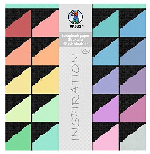 Ursus 81820099 - Scrapbook paper Block Struktura Black Magic, ca. 30,5 x 30,5 cm, 20 Blatt sortiert in 20 Farben